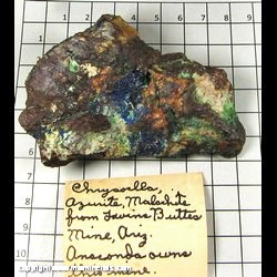 Minerals Specimen: Azurite, Malachite, Chrysocolla from Twin Buttes Mine, Twin Buttes, Pima Dist,  Sierrita Mts, Pima Co,  Arizona
