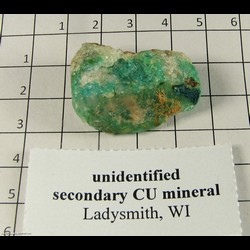 Mineral Specimen: Unidentfied Copper Secondary Mineral (looks like gem silica) from Flambeau Mine, Ladysmith, Rusk Co,  Wisconsin