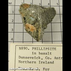 Mineral Specimen: Phillipsite in Basalt from Dunseveick, County Antrim, Northern Ireland