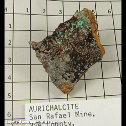 Minerals Specimen: Aurichalcite from San Rafael Mine, Quartz Mountain camp, Lodi District, Lodi Hills, Nye Co,  Nevada