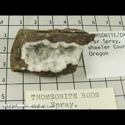 Mineral Specimen: Thomsonite, Chabazite from near Spray, Wheeler Co,  Oregon