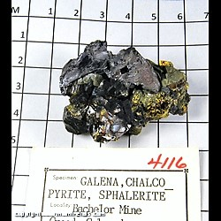 Minerals Specimen: Galena, Chalcopyrite, Sphalerite (some damage) from Bachelor Mine, Creede, Mineral Co., Colorado