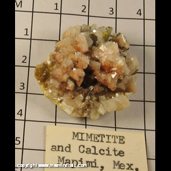 Minerals Specimen: Mimetite and Calcite from Mapimi, Durango, Mexico