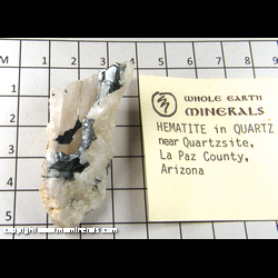 Minerals Specimen: Hematite in Quartz from near Quartzite, La Paz Co., Arizona