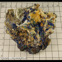 Minerals Specimen: Azurite and Malachite on Quartz from Chihuahua, Mexico