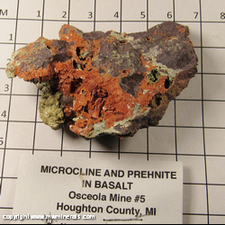 Minerals Specimen: Microcline and Prehnite in Basalt from Osceola #5 Mine, Osceola, Houghton Co., Michigan
