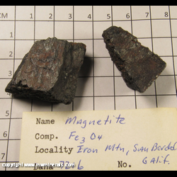 Minerals Specimen: Magnetite from Iron Mountain, Klamath Mts, Shasta Co., California