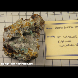 Minerals Specimen: Hemimorphite from St. Charles Mine, Inyo Co., California
