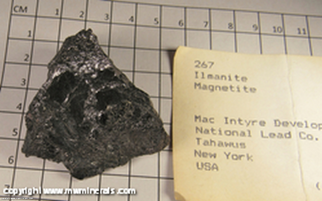 Minerals Specimen: Ilmenite, Magnetite from McIntyre Mine (National Lead Company mine), Newcomb (formerly Tahawus), Adirondack State Park,  Essex Co,   New York