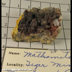 Minerals Specimen: Mottramite on Quartz from Tiger, Mammoth Dist,  Pinal Co,  Arizona
