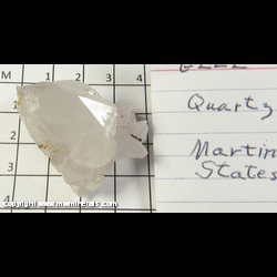 Mineral Specimen: Quartz from Martin Marietta Quarry, Hickory, Catawba Co,  North Carolina