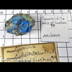Mineral Specimen: Cyanotrichite from Maid of Sunshine Mine, Turquoise mining dist., Cochise Co., Arizona