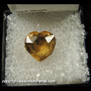 Minerals Specimen: Citrine, Cut Heart Shaped Gemstone from Brazil