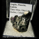 Mineral Specimen: Augite, Fluorite, Calcite from Yates Mine, Otter Lake, Quebec, Canada