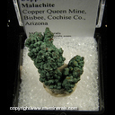Mineral Specimen: Copper Crystals coated with Malachite from Copper Queen Mine, Bisbee, Cochise Co., Arizona