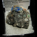 Mineral Specimen: Linarite and Brochantite on Cerussite pseudomorph after Galena, Barite from Blanchard Mine, Bingham, Socorro Co., New Mexico Ex. Hoisington collection