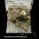 Mineral Specimen: Epidote from Houghton Co., Michigan Ex. A. Neely, 1960s