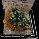 Mineral Specimen: Azurite Crystals, Malachite from Chihuahua, Mexico, Ex. A. Neely, 1960s
