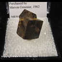 Mineral Specimen: Limonite Pseudomorph after Pyrite from North Carolina; purchased by Mervin Greenier, 1962