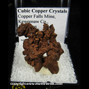 Mineral Specimen: Copper, Cubic Crystals from Copper Falls Mine, Keweenaw Co., Michigan