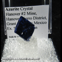 Mineral Specimen: Azurite Crystal from Hanover #2 Mine, Hanover-Fierro District, Grant Co., New Mexico Ex. Steve Pullman