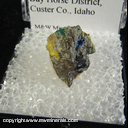 Mineral Specimen: Caledonite, Azurite, Galena, likely Perite from K-7 Tunnel, Challis, Bay Horse District,Custer Co., Idaho