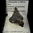 Mineral Specimen: Ulmannite in Silver Ore from Burbach, Siegerland, North Rhine-Westphalia, Germany