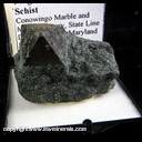 Mineral Specimen: Magnetite in Biotite Schist from Conowingo Marble and Mineral Quarry, State Line Dist., Cecil Co., Maryland, Ex. Norm Woods