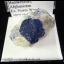 Mineral Specimen: Lazurite crystal in Marble from Kockcha Valley, Badakhshan, Afghanistan, Ex. Norm Woods