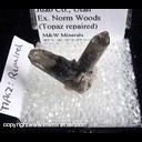 Mineral Specimen: Hematite on and included in Topaz (repaired) from Thomas Range, Juab Co., Utah, Ex. Norm Woods