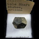 Mineral Specimen: Pyrite from Cole Shaft, Bisbee, Cochise Co., Arizona, Ex. Norm Woods