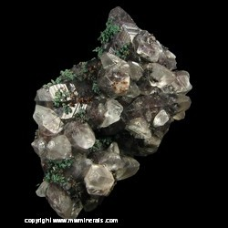 Minerals Specimen: Copper, Calcite with Included Copper, Malachite from Concepcion del Oro, Zacatecas, Mexico