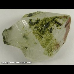 Minerals Specimen: Epidote on and Included in Quartz from Kharan, Balochistan (Baluchistan), Pakistan