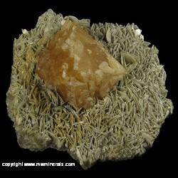 Minerals Specimen: Scheelite, Muscovite from Pingwu beryl mine (Xuebaoding deposit), Huya Twp., Mt Xuebaoding, Pingwu Co., Mianyang Pref., Sichuan, China