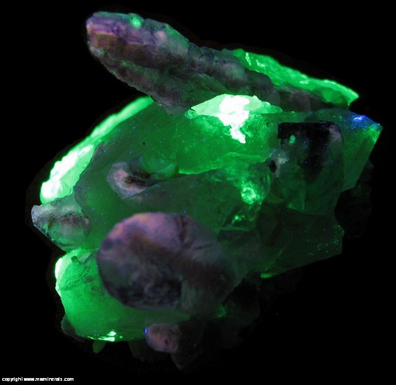Fluorescent Mineral Specimen: Fluorite with Hyaline Opal and Muscovite on Quartz from Erongo Mountain, Erongo Region, Namibia