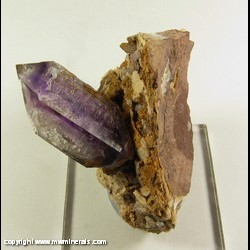 Mineral Specimen: Double Terminated Amethyst Crystal on Matrix from Goboboseb Mountains, Brandberg Area, Erongo Region, Namibia