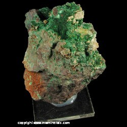 Mineral Specimen: Malachite Crystals on Massive Cuprite with Quartz from Mapimi, Durango, Mexico