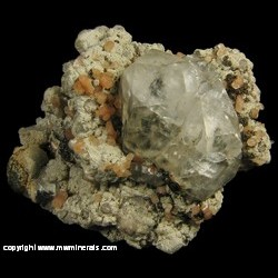 Mineral Specimen: Calcite with Undentified Zeolite and Unidentified Sulfide on Chalcedony from Location Unkown (listed as Findlay, Ohio)