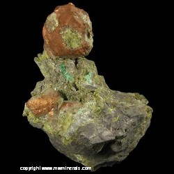 Mineral Specimen: Copper Crystals, Epidote, Quartz with Included Epidote from Centennial Mine, Centennial, Houghton Co., Michigan