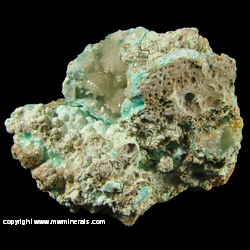 Minerals Specimen: Allophane, Aurichalcite, Hemimorphite from Juanita Mine, Magdalena District, Socorro Co., New Mexico