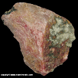 Minerals Specimen: Bustamite/Rhodonite, Franklinite from Sterling Mine, Sterling Hill, Ogdensburg, Franklin Mining District, Sussex Co., New Jersey