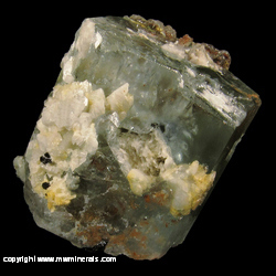 Mineral Specimen: Aquamarine with included Schorl Tourmaline and Feldspar with Hyaline Opal from Erongo Mountain, Erongo Region, Namibia