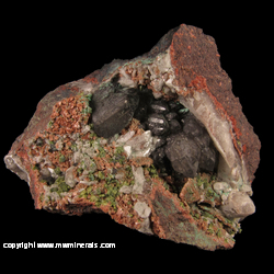 Mineral Specimen: Calcite, Epidote, Quartz, Adularia from Nebraska Mine, Butler lode, Ontonagon Co., Michigan