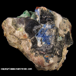 Minerals Specimen: Linarite, Brochantite, Cerussite, Galena, Quartz, Fluorite from Blanchard Mine, Bingham, Hansonburg District, Socorro Co., New Mexico