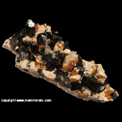 Mineral Specimen: Spessartine Garnet, Smoky Quartz, Microcline, Hyaline Opal from Tongbei, Fujian, China