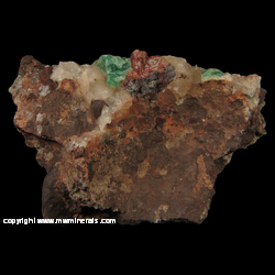 Minerals Specimen: Fluorite and Calcite in Copper Harbor Conglomerate from Five Mile Point, Lake Superior Shoreline, near Eagle River, Keweenaw Co., Michigan