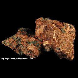 Minerals Specimen: Copper Crystals with Casts after Calcite, Chlorite, Microcline, Epidote from Caledonia Mine, Ontonagon Co., Michigan