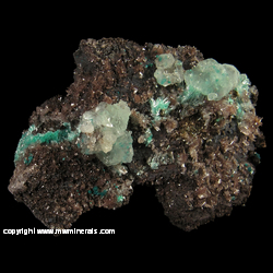 Minerals Specimen: Aurichalcite, Calcite, Aurichacite Included in Calcite, Hemimorphite from Silver Bill Mine, Costello Mine group, Gleeson, Turquoise Dist., Dragoon Mts, Cochise Co., Arizona