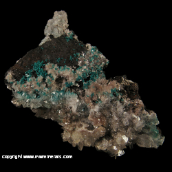 Minerals Specimen: Rosasite, Calcite, Hemimorphite from Silver Bill Mine, Costello Mine group, Gleeson, Turquoise Dist., Dragoon Mts, Cochise Co., Arizona