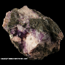 Mineral Specimen: Zoisite variety: Thulite, Fluorite, Mica, minor Beryl from Westgard Pass, Inyo Co., California
